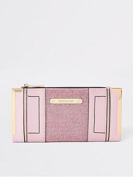 river-island-river-island-embellished-metal-corner-purse-light-pink