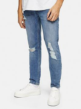 topman-ripped-mid-wash-stretch-skinny-jeans-blue