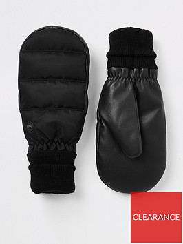 river-island-river-island-pu-mix-padded-mittens-black