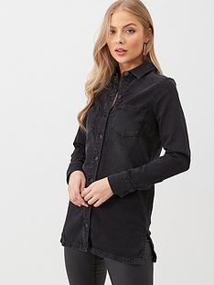 v-by-very-oversized-longline-denim-shirt-black