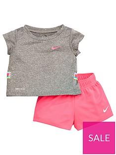 nike-nike-infant-girls-dri-fit-taped-tee-andnbspshorts-training-set-pink