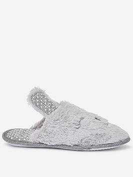 dorothy-perkins-dorothy-perkins-bunny-novelty-mule-slippers-grey