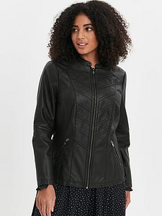 evans-stitch-detail-pu-biker-jacket-black