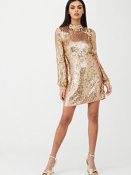 river-island-sequin-shift-dress-rose-gold