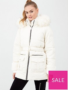 river-island-river-island-faux-fur-cuff-belted-padded-jacket-cream