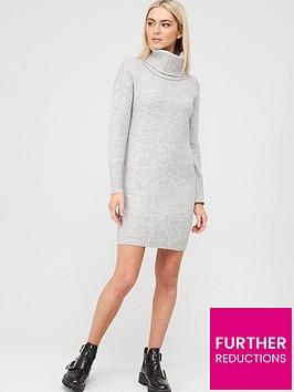 river-island-snood-knit-dress-grey
