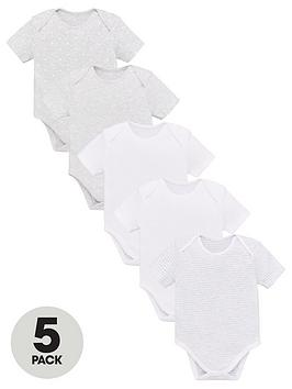 v-by-very-baby-unisex-5-pack-short-sleeve-essential-grey-mix-bodysuits-grey