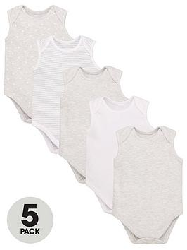 v-by-very-baby-unisex-5-pack-sleeveless-essential-grey-mix-bodysuits