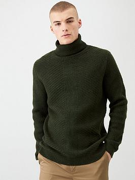 river-island-green-slim-fit-roll-neck-knitted-jumper
