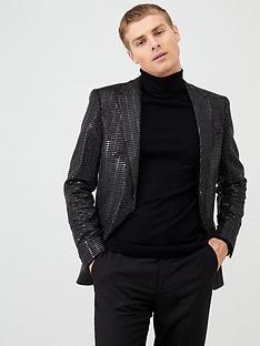 river-island-black-sequin-skinny-fit-blazer
