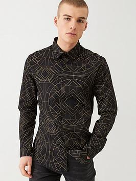 river-island-black-slim-fit-diamond-print-shirt