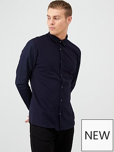river-island-navy-ribbed-collar-slim-fit-jersey-shirt