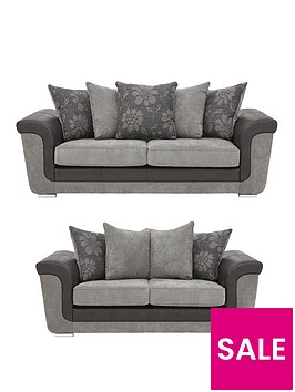 vidal-fabric-and-faux-snakeskin-3-2-seater-scatter-back-sofa-set-buy-and-save