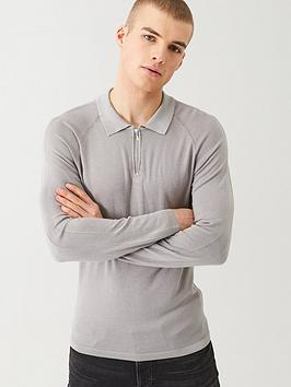 river-island-grey-slim-fit-half-zip-knitted-polo-shirt