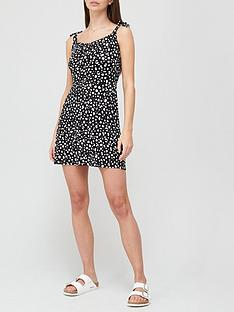 v-by-very-tie-shoulder-jersey-mini-beach-dress-animal-print