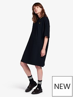 fred-perry-oversized-pique-dress-black