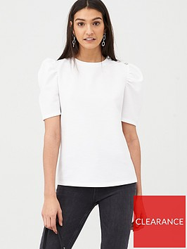 v-by-very-button-detail-puff-sleeve-jersey-top-white