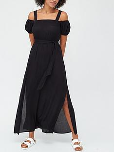 v-by-very-cold-shoulder-crinkle-beach-dress-black