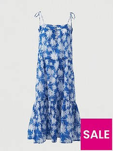 v-by-very-cotton-tie-shoulder-midi-beach-dress-blue-print