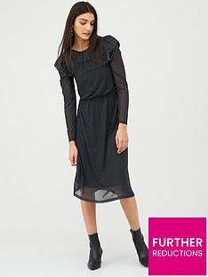 v-by-very-spot-frill-sleeve-mesh-midi-jersey-dress-black