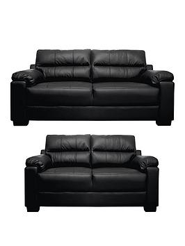 Saskia Leather/Faux Leather 3 Seater + 2 Seater Compact Sofa Set (Buy And Save!)