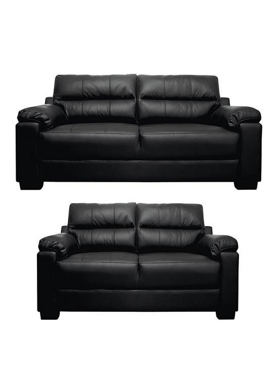 b62fec1004a Saskia Leather Faux Leather 3 Seater + 2 Seater Compact Sofa Set (Buy and  SAVE!)