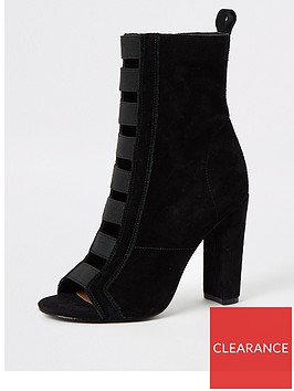 river-island-river-island-suede-elasticated-detail-ankle-boot-black