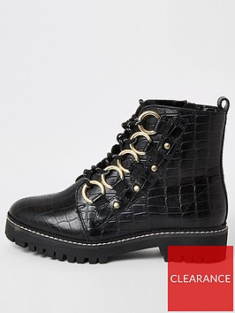 river-island-river-island-wide-fit-eyelet-detail-chunky-boot-black