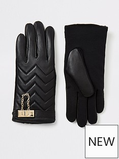 river-island-river-island-padlock-leather-gloves-black