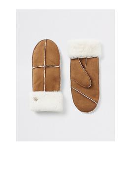 river-island-river-island-faux-fur-trim-mittens-brown