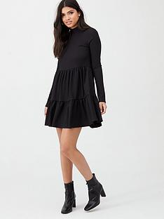 river-island-river-island-high-neck-tiered-panelled-smock-dress--black