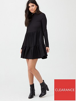 river-island-river-island-high-neck-tiered-panelled-smock-dress--black