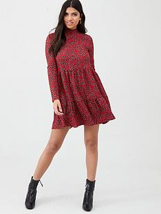river-island-river-island-printed-high-neck-tiered-panelled-smock-dress-red