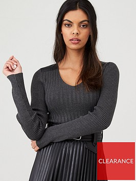 river-island-river-island-faux-leather-shoulder-ribbed-top--charcoal