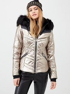 river-island-river-island-metallic-panelled-padded-faux-fur-hooded-jacket--copper