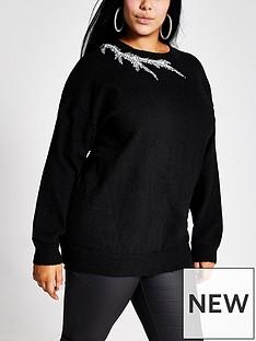 ri-plus-ri-plus-embellished-neck-knitted-jumper--black