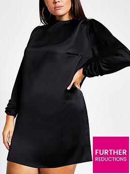 ri-plus-ri-plus-satin-button-detail-high-neck-swing-dress--black