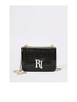 river-island-river-island-patent-ri-embossed-cross-body-bag-black