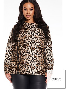 quiz-curve-leopard-print-long-sleeve-light-knit-top-brown-black