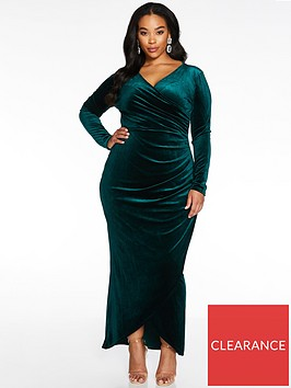 quiz-curve-velvet-ruched-side-wrap-maxi-dressnbsp--bottle-green