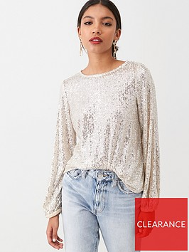 river-island-river-island-sequin-long-balloon-sleeve-top-silver