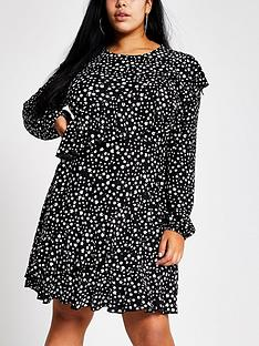 ri-plus-ri-plus-ditsy-print-frill-tea-dress--black
