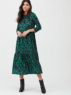 river-island-river-island-printed-long-sleeve-smock-dress--green