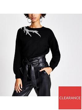 river-island-river-island-diamante-shoulder-knitted-jumper--black