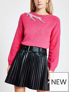 ri-petite-ri-petite-embellished-shoulder-knitted-jumper--pink