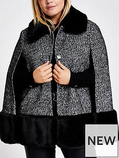 ri-plus-ri-plus-boucle-faux-fur-collar-cape-coat-black