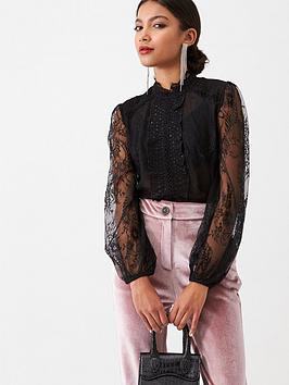 river-island-river-island-lace-long-sleeve-frill-front-blouse-black