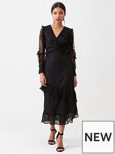 river-island-river-island-lace-long-sleeve-frill-midi-dress--black