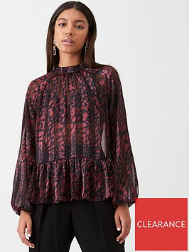 river-island-river-island-animal-print-ruffle-trim-boxy-blouse--red