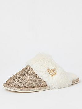 river-island-river-island-faux-fur-diamante-mule-slippers-gold